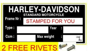 HARLEY DAVIDSON ID STAMPED FOR YOU BIKE FRAME ID VIN-CHASSIS-PLATES FREE RIVETS
