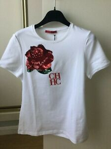 Hot Deal  Carolina Herrera Women size S T Shirt White Cotton NWT