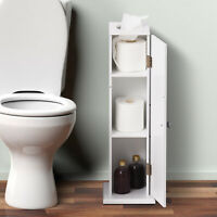 """26"""" Bathroom Cabinet White Country Toilet Paper Storage Shelf With Door"""