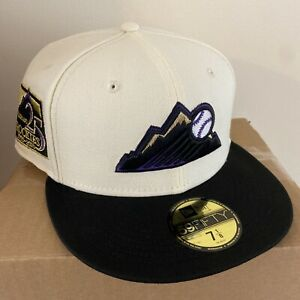 Exclusive Fitted 2Tone Off White Colorado Rockies 5950 New Era Fitted Size 7 1/8