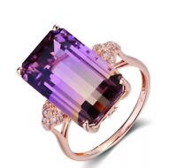 Vintag Stone Purple Yellow Tourmaline Ring Gemstone Silver Women Wedding Jewelry