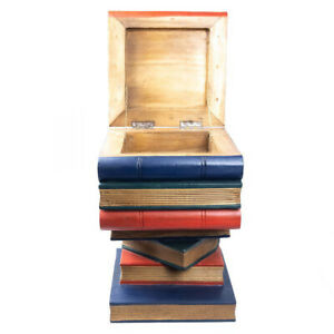 Wooden Book Stack Stool Table with Top Storage Compartment and Hinged Lid Han...