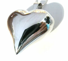 Funky 925 Sterling Silver Large 28mm Puffed Heart Pendant With a Silver Chain