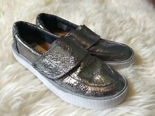 TOMS Womens Size 6 Altair Slip-On Cracked Silver Metallic Sneaker Shoe