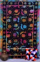 Hippie Celestial Sun Moon Tapestry Indian Tie & Dye Wall Hanging Twin Bedspread