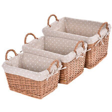 Set of 3 Hand-woven Wicker Rectangle Storage Baskets Nesting Organizer w/ Lining