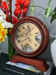 Champs Elysee France 30 Cm Antique Wooden Gear Table Clock.