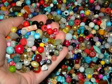 NEW 8/oz Multi-colored MIXED LOOSE BEADS LOT Gem, Stone, Glass, pearls
