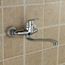 Chrome Wall Mounted Long Swivel Spout Kitchen Sink Faucet Laundry Vessel Mixer