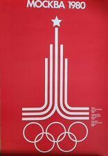 "VINTAGE POSTER~Moscow 1980 Original Summer Olympics 16x24"" MOCKBA Russia Logo~"