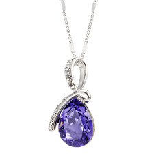 Eternal Love Pendant Purple Necklace Chain Jewellery Crystal Gemstone Jewelry
