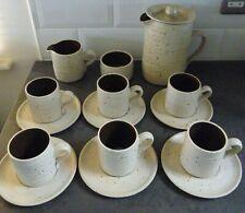 Studio Pottery Coffee Set 6 Cups & Saucers Milk Jug Sugar Bowl & Lidded Pot