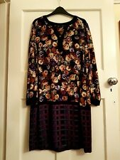 Gorgeous Marks And Spencer Purple Black Floral Check Dress Size 14 BNWOT