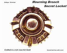 Victorian Mourning Brooch Pin / Secret Locket 9ct Rose Gold Antique c1880s