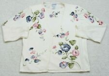 Alfred Dunner White Ramie Acrylic Wool Woman Floral Sweater Long Sleeve Large L3