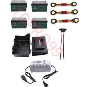 4PACK 12V 12Ah 6-DZM-12 SLA Battery + Charger + Battery Box For Electric Go Kart