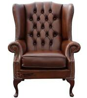 Chesterfield Prince's Flat Wing Queen Anne High Back Chair Antique Tan Leather