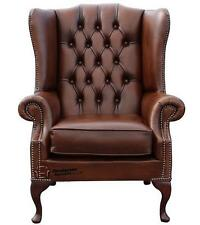 Chesterfield Prince's Flat Wing Queen Anne High Back Chair Tan Leather
