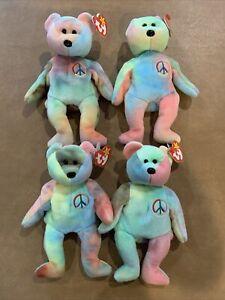Peace Bear Ty Beanie Baby 1996 (Lot Of 4)