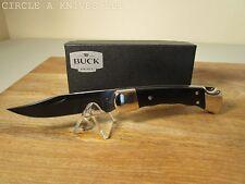 BUCK KNIFE- CUSTOM 110 - BLACK G-10 HANDLES - BLACK OXIDE BLADE - LEATHER SHEATH