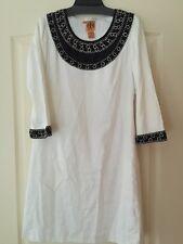 NEW Tory Burch Designer White Black Linen Blend Dress Embellished Size 8 $620