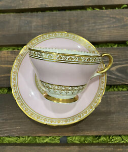 Shelley teacup and saucer Pink With Gold 12793