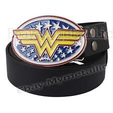Super Hero Wonder Woman LOGO Removable Metal Buckle Leather Belt