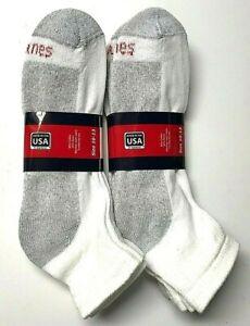 12 Pair Men's HANES White Cushioned Bottom Work /Sport Ankle Sock SZ10-13
