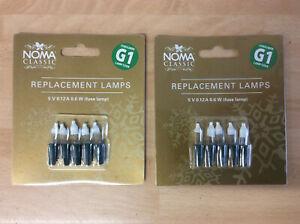 10 Noma G1 Xmas Fairy Light Bulbs, 6v 5v 0.72w Push In Fuse Lamps 0344F