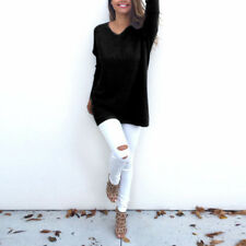 Women's Long Sleeve Loose Knitted Pullover Sweater Casual V Neck Jumper Knitwear