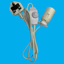ES E27 White UK Plug Light Bulb Holder Inline Dimmer Switch Desk Table Salt Lamp