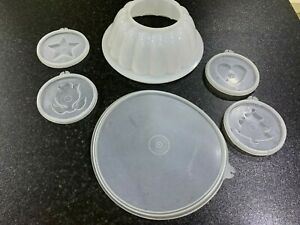 VINTAGE TUPPERWARE COMPLETE JELLY MOULD SET WITH 4 INTERCHANGEABLE INSERTS