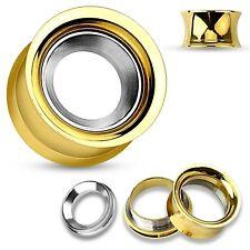 PAIR-Gold Plate w/Steel Screw In Screw On Ear Tunnels 10mm/00 Gauge Body Jewelry