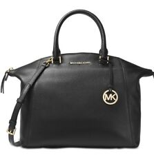 New MICHAEL KORS Riley Large Satchel Bag black leather gold laptop compatible