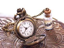DRINK ME Bottle Alice in Wonderland Pocket Watch Necklace