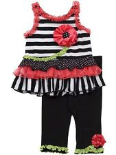 NWT Girl 2T Rare Editions DRESSY Black/ White Stripe RUFFLED Top Pants Outfit