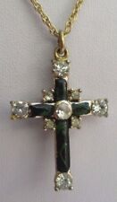Collier pendentif chaîne bijou vintage croix couleur or cristal diamant 3286