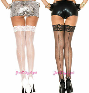 """Plus Size FISHNET BACKSEAM STOCKINGS Thigh High 3"""" LACE TOP for GarterBelt QUEEN"""