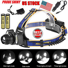 15000LM 3X XM T6 LED Headlamp Head Light Torch USB Lamp+18650+Charger US Stock