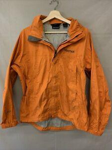 Marmot Precip Rain Jacket Men's Small Orange Zip Up Outdoor Windbreaker