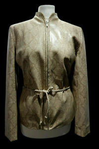DOROTHY PERKINS Women's Faux Leather Jacket Snake Skin Brown Tie Belt Size 14