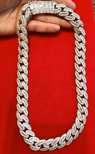 "Mens 14K White Gold Finish BAGUETTE With ROUND STONES MIAMI CUBAN 18mm 22""Chain"