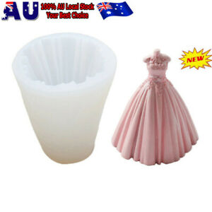 Aromatherapy Candle 3D Silicone Moulds DIY Princess Dress Skirt Cake Candle Mold