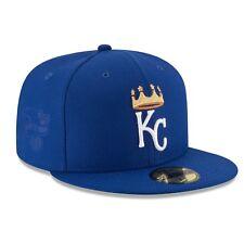 SIZE 8 NEW ERA KANSAS CITY ROYALS MLB 5950 DIAMOND BLUE GOLD FITTED PRO CAP HAT