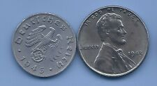 Germany Nazi Third Reich 1943 Swastika Coin US 1943 Steel Penny coin lot WW2 #22