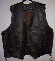 Mens Motorcycle Biker Genuine Leather Motorcycle Vest With Laces Black&Brown