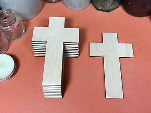 WOODEN CROSSES PLAIN Shapes 10cm (x10) wood decoration crafts blank shape