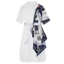 Print Scarf Patchwork Shirt Dress Midi Dress