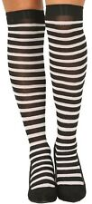Ladies Black White Stripe Carnival Hen Do Fancy Dress Stockings Hold Ups Socks