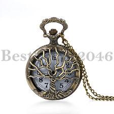 Vintage Men Women Hallow Tree of Life Quartz Pocket Watch Necklace with Chain